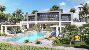perspective extérieure villa de luxe 1